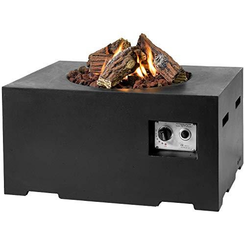 M A N I A Feuertisch für den Garten - Gas Feuerstelle ohne Rauch, Funken, Glut & Asche - Gaskamin Outdoor mit 19,5 kW in Betonoptik schwarz 80 x 60 x 40 cm - Gasfeuerstelle Terrassenkamin Kaminfeuer
