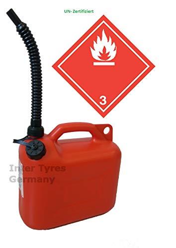 Narubb P 10 Liter Zertifiziert Reservekanister Kanister ATV Auto Benzinkanister Diesel Ersatzkanister Kraftstoffkanister