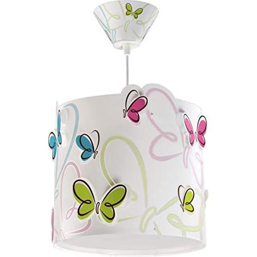 Dalber - Lampadario, soggetto: farfalle variopinte, glühlampe, plastica, bianco