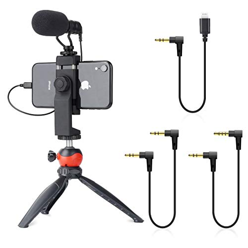 EACHSHOT Smartphone Video Rig with Microphone, Tripod, and for iPhone Dongle Compatible with iPhone 12 Mini Pro Max, 11, 11 Pro, XS, XR, X, 8, 7, 6S, 6, 5S, 5 Android - for Vlogging, YouTube, TikTok