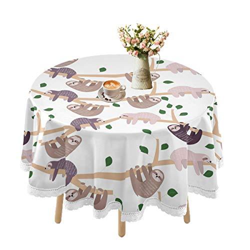 Mantel impermeable para mesas redondas, manteles de encaje para mesa de comedor al aire libre, gran cocina, día festivo, picnic, fiestas, 152 cm