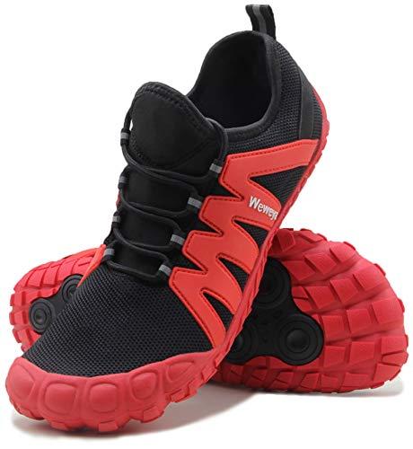 Weweya Barefoot Shoes Men Minimalist Running Cross Training Shoe Strength Cross Trainer Weight Lifting Squat Size 10 Black Red