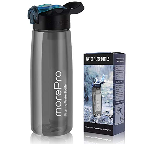 Water Bottle with Filter, BPA Free 22 Oz Water Purifier Straw with 2-Stage Integrated Filter Straw for Hiking, Backpacking, Camping and Travel