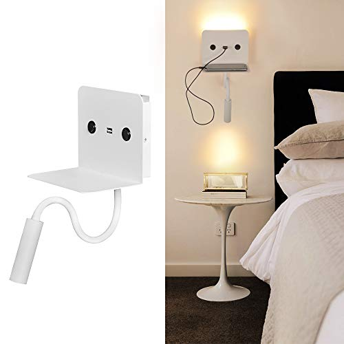 Lampara Aplique Interior Blanco de pared LED Industrial para Lectura arriba abajo 9W orientable carga USB Dormitorio salon luz calido