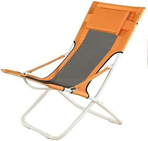 FTFTO Bureau Life Fauteuils inclinables, fauteuils, chaises Balcon Maison de Loisirs Lazy Chair Moon Chair Chaise Simple Chaise Longue Transat (Couleur: Tissu Orange + Bleu, Taille: 636589cm)