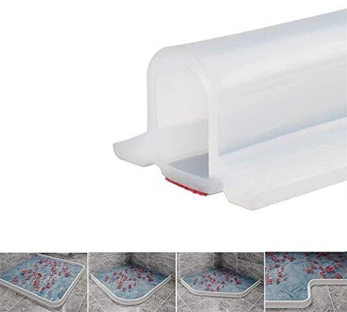 Zusammenklappbarer Duschschwellen-Wasserdamm, ideal für rollstuhlgerechte, barrierefreie Duschen, Dusche Bad Boden Dichtung Wasserdamm Duschschwelle Barriere-Wasserstopper (Transparent,100 cm)
