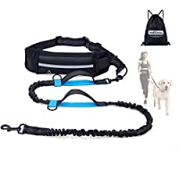 """【Running Leash for Dog】Equipped with dual strong bungees, this waist dog leash for running can reduce stress from pulling and tugging, absorbs abrupt changes of direction of your dogs up to 150lb. 53"""" resting length and 74"""" extended length bungees le..."""