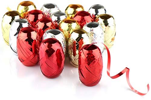 com-four® 18x Ringelband in glänzenden Farben - 10 m je Rolle - hochwertiges Set Geschenkbänder zum Basteln und Verpacken - Polyband für dekorative Geschenkverpackung