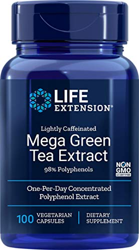 Price comparison product image Life Extension Mega Green Tea Extract (Lightly Caffeinated) 98% Polyphenols,  100 Vegetarian Capsules