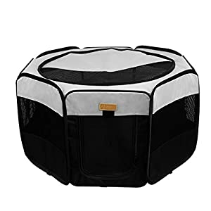 Akinerri Dog Playpen, Foldable Puppy Pet Exercise Kennel with Removable Mesh Shade Cover, Portable Pet Playpen for Pet's Indoor or Outdoor Training