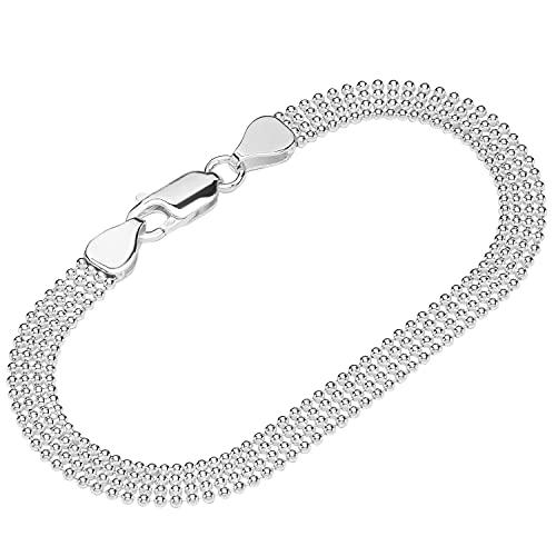 NKlaus Pulsera de plata de ley 925 de 19 cm, cadena de bolas de varias filas para mujer 12185