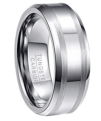 NUNCAD Herren Damen Partner Ring aus Wolfram 8mm Silber mit 2 Gebürsteten Streifen für Hochzeit Verlobung Geburtstag Jahrestag Lifestyle Größe 63 (23)