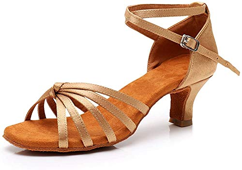YKXLM Mujeres&Niña Zapatos latinos de baile Zapatillas de baile de salón Salsa Performance Calzado de Danza,ES217-5,Beige color,EU 38