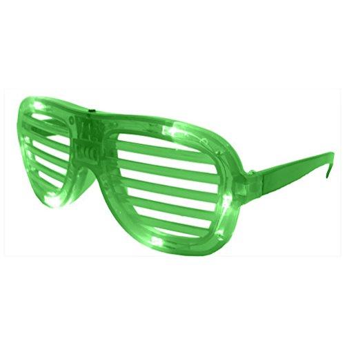 PIXNOR LED en plastique Verres de lunettes obturateur pour Halloween Club Party (Vert)