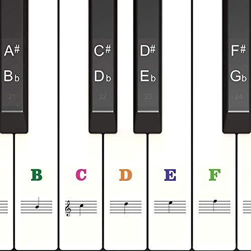 Klavier Keyboard Aufkleber für 54/61 / 76/88 Tasten Noten [ Gratis Ebook ] Piano Sticker für weiße & schwarze Tasten Transparent und abnehmbar | C-D-E-F-G-A-B | (Farbe)