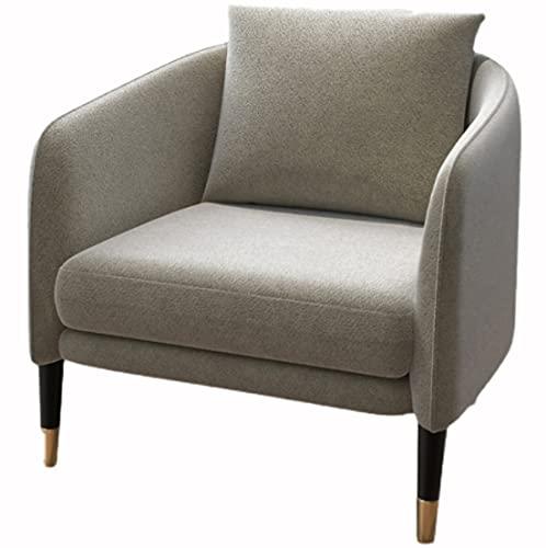 Sillón acolchado gris silla de salón sofá marco de madera tela de franela de nieve asiento suave adecuado para sala de estar, dormitorio, recepción café