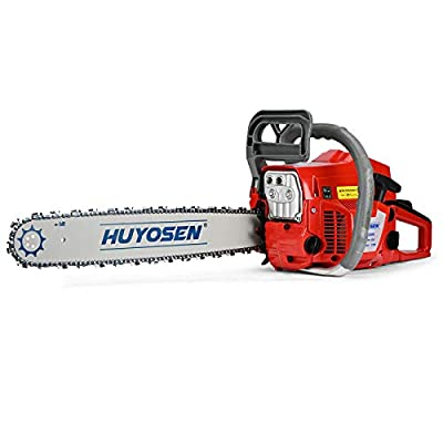 HUYOSEN 62CC 2-Cycle Gas Powered Chainsaw, 20-Inch Chainsaw, Cordless Handheld Gasoline Power Chain Saws for Cutting Trees, Wood, Garden and Farm(C6220E)