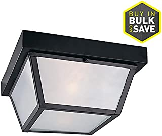 Portfolio 10.37-in W Black Outdoor Flush-Mount Light