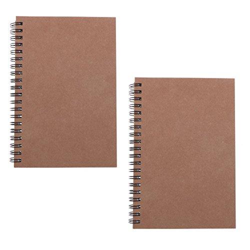 Pack de 2 cuadernos de notas con papel sin forro, 100 páginas/50 hojas, 18 x 12 cm (marrón)