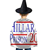 Hillary Clinton for Prison 2020 Kids Halloween Costumes Witch Wizard Cloak with Hat Wizard Cape for Boys Girls 3-12 Y Black