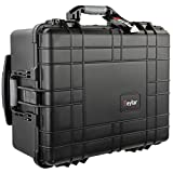 Medium 21' Protective Roller Camera Hard Case Water and Shock Resistant w/Foam (Black) by Eylar