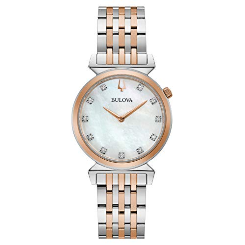Bulova Relojes clásicos Regatta dos tonos oro rosa y plata diamante MOP Dial delgado