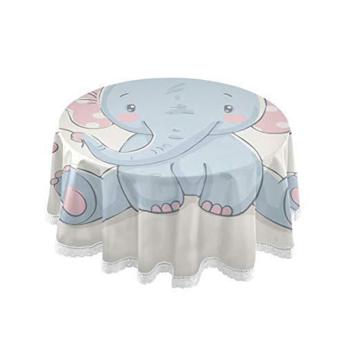 Bardic FELIZM Mantel redondo con diseño de elefante y flores, mantel de mesa de comedor de 152 x 152 cm para decoración de fiestas en el hogar, fiesta, cocina, vacaciones