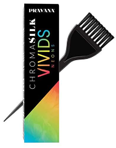 Pravana ChromaSilk VIVIDS NEONS Hair Color Shades with Silk & Keratin Amino Acids Dye (with Sleek Brush) Haircolor (NEON YELLOW)