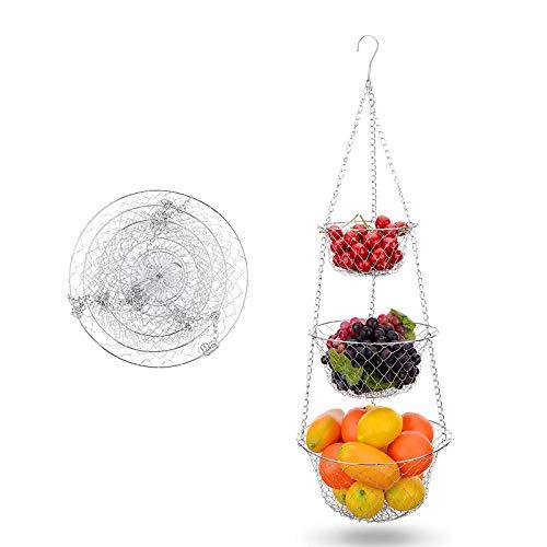 LxwSin Portafrutta da Appendere 3 Ripiani, Cesto per Frutta da Appendere, Ciotola da Appendere Supporto in Filo Metallico, Resistente Organizzatore da Cucina per Frutta Verdura Fiori Pianti, Argento