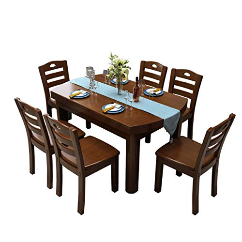 Dining Set Modern Minimalist Solid Wood Dining Table Seating Combination Furniture Oak Brown-1 Table 6 Chairs