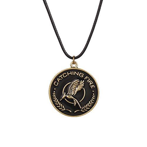 Alushisland Collar de Juegos del Hambre pájaro águila Animal Logo Colgante Esmalte Vintage Moda película joyería Cuerda de Cuero Hombres Mujeres niños