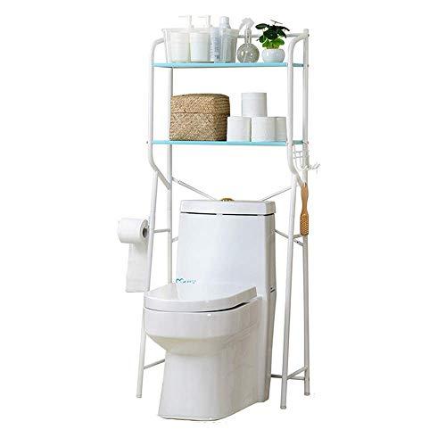 QIDOFAN Estantes de Ducha del organizador del almacenaje de 2 capas independiente sobre el inodoro Unidades de almacenamiento estantería de baño ahorrador del espacio del baño del metal blanco Organiz