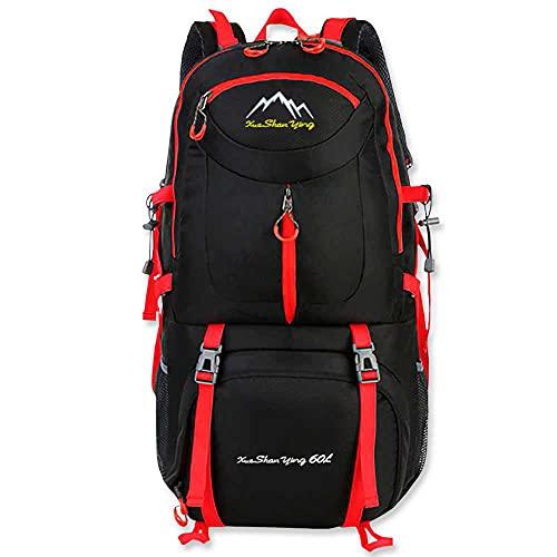 OcioDual Mochila Impermeable 60 litros Negra GF80763 Multiples Bolsillos de Senderismo Acampada Montaña para Hombres Mujeres