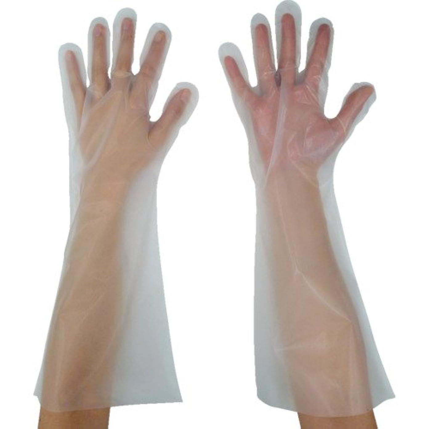 何よりも親指ぴったり東京パック 緊急災害対策用手袋ロング五本絞りM 半透明 KL-M