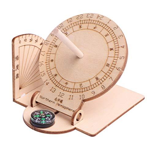 Garneck 1 reloj solar ecuatorial, adorno DIY de madera, pedagógico, reloj solar científico, modelo para niños, estudiantes