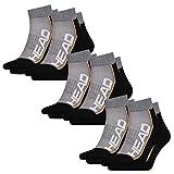 HEAD Unisex Performance Quarter 6er Pack 35-38 39-42 43-46, Größe:43/46, Farbe:Grey/Black (235)