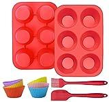 HomeMall 2 Silikon Muffin Backform, mit Ölbürsten/schaber/Muffin Cup, Kann 6 Muffins Aufnehmen, Antihaft-Muffins Backform, Geeignet für Pudding/Cupcake/Kuchen (Rot)