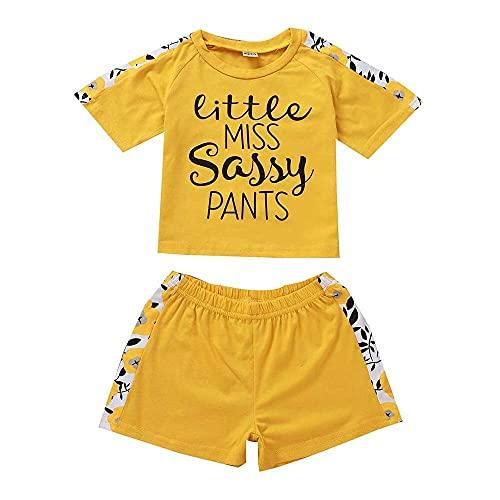 junmo shop Conjunto de camiseta de manga corta con estampado floral para niñas y bebés