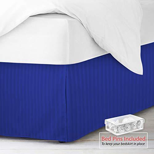 "Nestl Bedding Pleated Bed Skirt - Damask Dobby Stripe Bed Skirt - Luxury Microfiber Dust Ruffle - 14"" Tailored Drop - Bonus Bed Skirt Pins Set of 8 Included - Queen, Royal Blue"