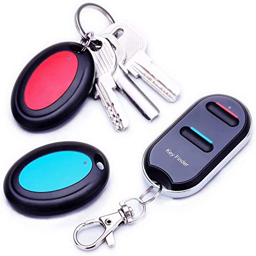 Vodeson Item Tag Key Finder Remote Control Finder, Easy to Use Suitable for The Elderly Key Locator Device,Whistle Phone Keychain Finder,Item Tracker,1 RF Transmitter 2 Receivers