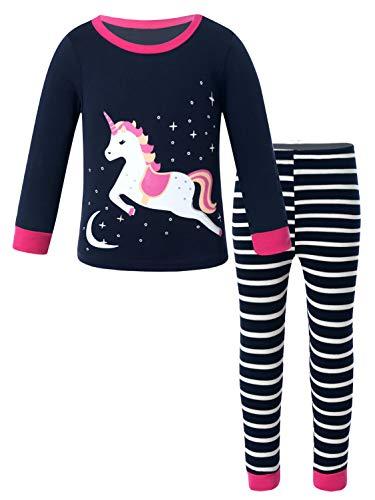 Aislor Mädchen Schlafanzug Baumwolle Langarm Pyjama Set Kinder Zweiteiliger Schlafanzüge Einhörner Nachtwäsche Frühling Sommer Bekleidung Marineblau 80-92