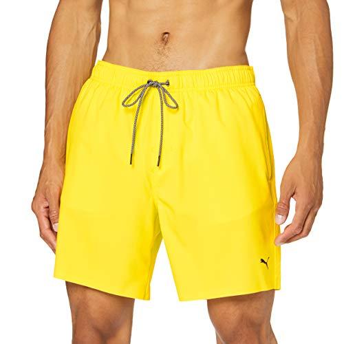 PUMA Mid-Length Men s Swimming Shorts-Visible Drawcord Pantalones Cortos para Tabla, Amarillo, L para Hombre