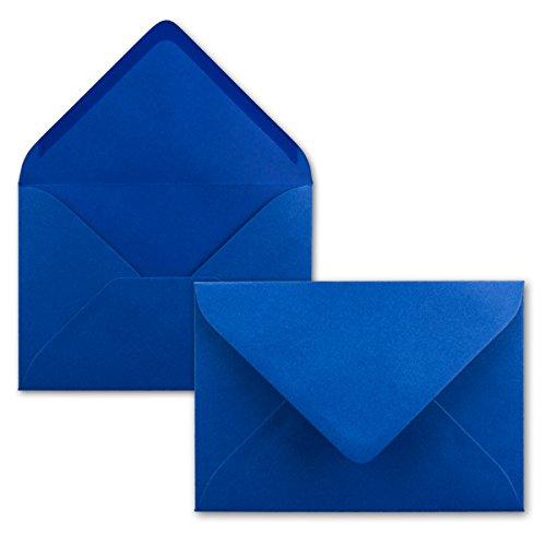 100 Brief-Umschläge - Royalblau/Königs-Blau - DIN C6-114 x 162 mm - Kuverts mit Nassklebung ohne Fenster für Gruß-Karten & Einladungen - Serie FarbenFroh®