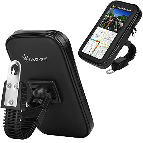 SUNSEATON Support Téléphone étanche, Universelle Waterproof Motocycle/Les Voitures électriques/Scooter Rétroviseur Téléphone Support avec 360° Rotation pour iPhone, Samsung Galaxy (XL, Noir)
