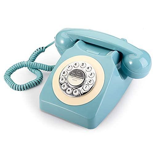 Teléfono retro, 60's Classic Rotary dial Old Fashioned Teléfono fijo Teléfono fijo Teléfono con cable para el hogar..