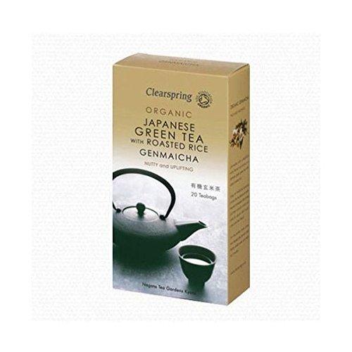 Clearspring Organische Japanisch Grüner Tee mit gerösteten Reis Genmaicha Teebeutel 25g (Box à 20 Beutel)
