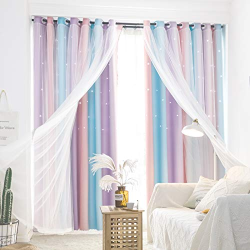 UNISTAR Blackout Stars Kids Curtains for Girls Bedroom Aesthetic Decor Colorful Kawaii Double Layer Star Cut Out Stripe Pink Rainbow Window Wall Home Decoration Curtain,1 Panel,W52 x L63 Inches