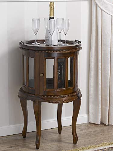 Simone Guarracino Tavolino Coloniale Tondo vetrina Bar portabottiglie Stile Inglese Noce