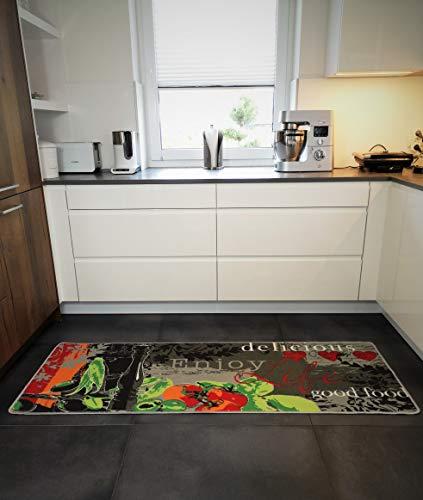 Küchenläufer Küchenmatte Läufer Küchenteppich Enjoy Life Grau Grün KL-14