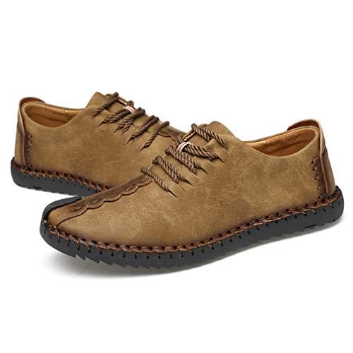 Winter warm halten Männer Freizeitschuhe Männer Modische Mikrofaser Lederschuhe Männer rutschfeste Gummisohlen Schuhe Khaki, 44 Uniquelove